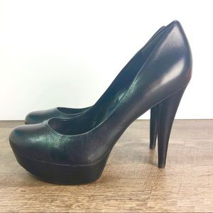 Guess platform heels 6.5 Black leather